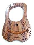 Nouvelle Gravure Lyre Harpe Harpe 10cordes en métal Housse de transport + Clé en bois de sheesham/Lyra Jante rosewwod Irlandais ...