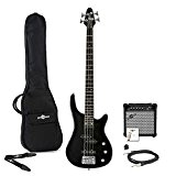 Pack Guitare basse Miami par Gear4music Noir + Ampli