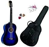 Pack Guitare Classique 3/4 (8-13ans) Pour Enfant Avec 3 Accessoires (bleu)