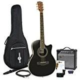 Pack Guitare Electro-Acoustique à Dos Rond + Ampli 15W Noir