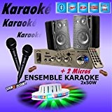 PACK KARAOKÉ COMPLET + JEU DE LUMIERE + 1 AMPLI USB MP3 SD BLUETOOTH + 2 MICROS + 2 ENCEINTES ...