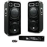 PACK Sono DJ 2 enceintes 4 x 600W Ampli 1000W
