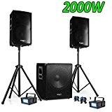 PACK SONO DJ 2000W CUBE 1512 avec CAISSON + ENCENTES + PIEDS + CABLES + 2 Strobes