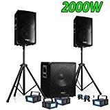 PACK SONO DJ 2000W CUBE 1512 avec CAISSON + ENCENTES + PIEDS + CABLES + 4 Strobes