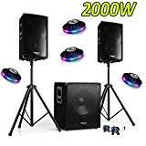 PACK SONO DJ 2000W CUBE 1512 avec CAISSON + ENCENTES + PIEDS + CABLES + 4 RoundMagic