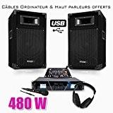 Pack Sono DJ300 USB MATRIX Ampli 2 x 240W + HP