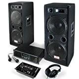 Pack Sonorisation DJ PA Complet / Kit pour soirées disco - Ensemble de 16 pièces : Enceintes 3 voies, Ampli ...