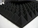 Panneau acoustique en mousse à relief pyramidal, 49 x 49 x 6cm, densité 30 kg/m3, couleur anthracite