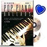 Piano Pop Ballads 1avec 2CD Ruban-Les 40meilleurs et Célèbre Pop Ballades des dernières décennies-Compositions pour Piano-avec coloré Cœur Note Pince