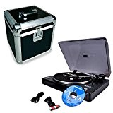 Platine Disques 33 et 45trs. USB Ibiza + Audacity + Flight-Case pour rangements ALU LP 100 disques vinyles