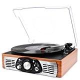 Platine Vinyle 1byone Transportable Immitation Bois,3 Vitesses Avec Enceinte Interne, prise USB pour MP3, AUX In et prise RCA.