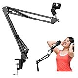ploopy professionnel réglable Microphone support, Micro Suspension Microphone Boom Bras Ciseaux Support (Support seulement pour microphone, pas ou Pop Écran ...
