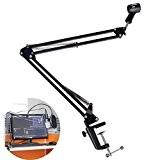 Rerii Support de bureau professionnel à bras télescopique pour microphone de diffusion en enregistrement en studio noir