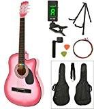 Rose Sunburst Guitare folk acoustique avec accordeur LCD et sacoche accessoires