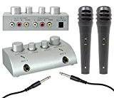 Skytec - Mini pack pour karaoké - Pré-amplificateur ultra compact avec mixage et deux micros main (effet écho, connexion TV ...