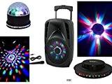 SONO PORTABLE 300W ENCEINTE AVEC LED INTÉGRÉS MICRO FILAIRE USB FM BLUETOOTH KARAOKÉ + 2 JEUX DE LUMIÈRES LED BOULES ...