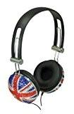 SoundLab Casque stéréo Motif drapeau britannique Union Jack/effet cristaux scintillants