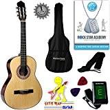 'Stretton Payne' Guitare Acoustique Classique 3/4 Pack - Naturel - Avec Housse et Accordeurs électronique et Mediator et Cours de ...