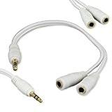 Style Meilleur Meilleur intelligente Blanc 3.5mm AUX stéréo mâle à femelle AUX Y Audio Splitter Câble cordon adaptateur pour Apple ...