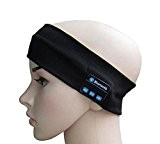 SUNNIOR mains libres sans fil Bluetooth tricotée Musique Bandeau avec casque amovible et haut-parleurs stéréo Bandeaux Mic pour Running ski ...