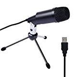 Tonor Microphone à Condensateur USB Professionnel pour l'informatique Plug-and-Play Noir