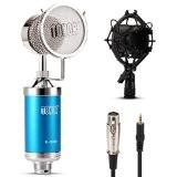 Tonor Professionnel Cardioïde Solide Microphone à Condensateur Diffusion Enregistrement pour PC/Ordinateur/Jeu en Ligne-Bleu
