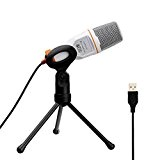Tonor Professionnel USB Microphone à Condensateur Studio Podcast(deuxième génération) avec l'étagère de support pour PC/portable/ordinateur/Skype/Mac/Enregistrement-Blanc