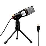 Tonor Professionnel USB Microphone à Condensateur Studio Podcast(deuxième génération) avec l'étagère de support pour PC/portable/ordinateur/Skype/Mac/Enregistrement-Noir