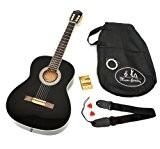 Ts-ideen 4558 Guitare de concert 4/4 classique acoustique avec Manche en bois de rose/Etui rembourré/Sangle/Corde/Diapason Noir