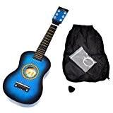 Ts-ideen 5203 Guitare en bois pour Enfant avec Etui/Jeu de cordes de rechange Bleu
