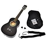 Ts-ideen 52071 Guitare acoustique 1/4 pour enfants de 4 à 7 ans avec étui, sangle et jeu de cordes Noir