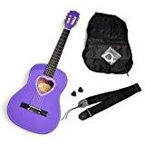 Ts-Ideen 5259 Guitare acoustique/classique avec poche/plectre/cordes/courroie pour enfants Taille 1/2 Rosace en forme de cœur Mauve