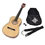 Ts-ideen 5261 Guitare de concert 3/4 classique acoustique pour Enfant avec Etui/Corde/Médiator/Sangle Nature