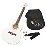 ts-ideen Guitare 4/4 acoustique folk Style Western Blanc ultra brillant