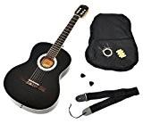 ts-ideen Guitare acoustique classique de concert en noir taille 4/4 avec accessoires