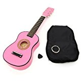 ts-ideen Guitare rose pour enfants en bois avec une housse et cordes de rechange taille 59 cm