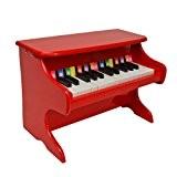 ts-ideen Mini Piano pour enfants ailes en bois avec 25 touches couleur rouge
