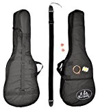 ts-ideen Set á 5 pièces pour guitare acoustique: sac de guitare rembourré, courroie, ensemble de cordes en acier, diapason et ...