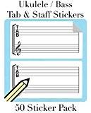 Ukulélé onglet et Staff Stickers Sticker (50par paquet) Idéal pour ukulélé basse, ukulélé et tablature