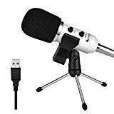 Usb microphone Fifine cardioïde condensateur Microphone Plug & Play avec support trépied de bureau et bonnette en mousse K056)