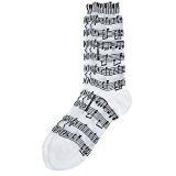Women's Socks: Sheet Music/Keyboard (White/Black)