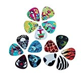 Yakamoz 15pcs Guitar Picks médiators avec 4 épaisseur 0.46mm / 0.71mm / 0.96mm / 1.20mm