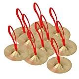 yibuy 9cm petite taille en laiton main Cymbales avec jouets en corde musicale rouge Lot de 10